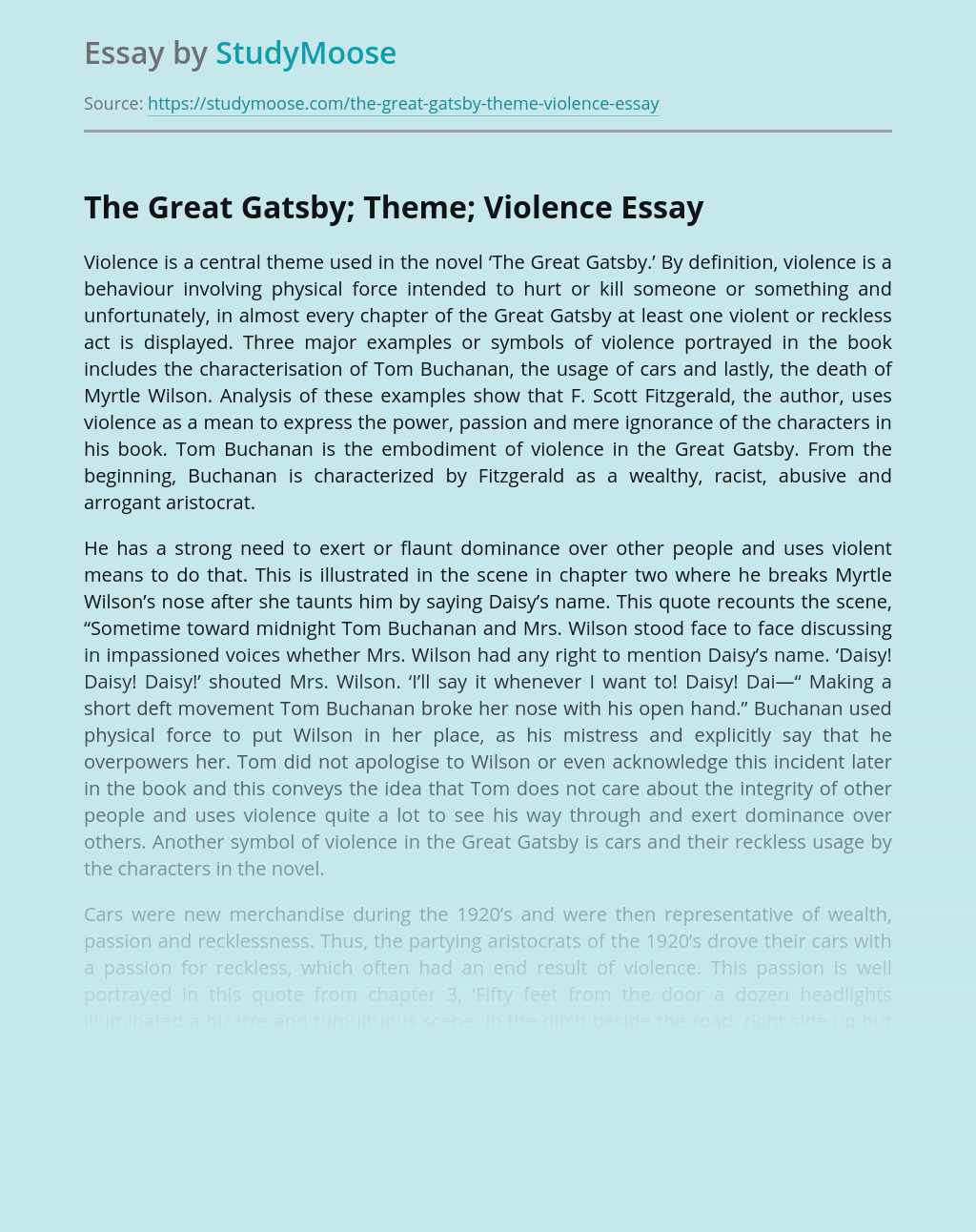 The Great Gatsby; Theme; Violence