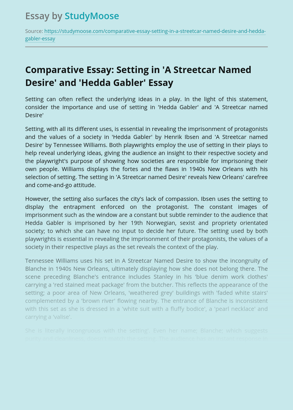 Comparative Essay: Setting in 'A Streetcar Named Desire' and 'Hedda Gabler'