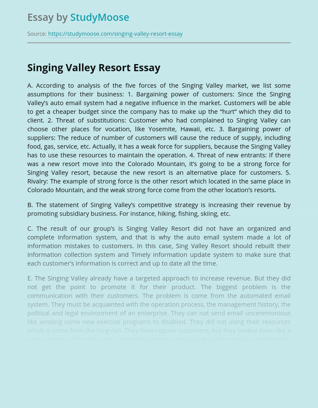 Singing Valley Resort Competitive Strategy