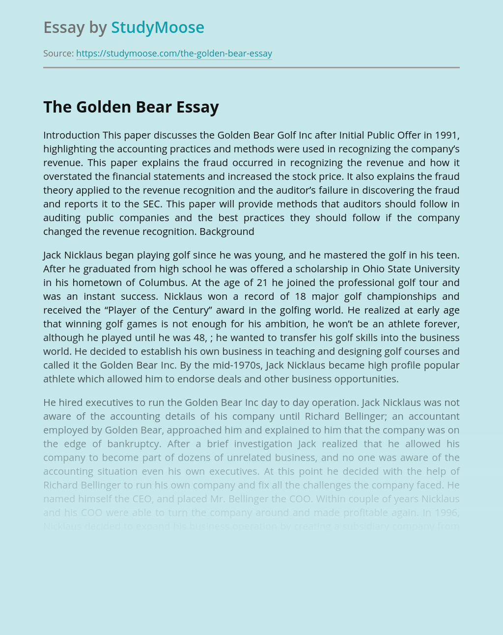 The Golden Bear after Initial Public Offer