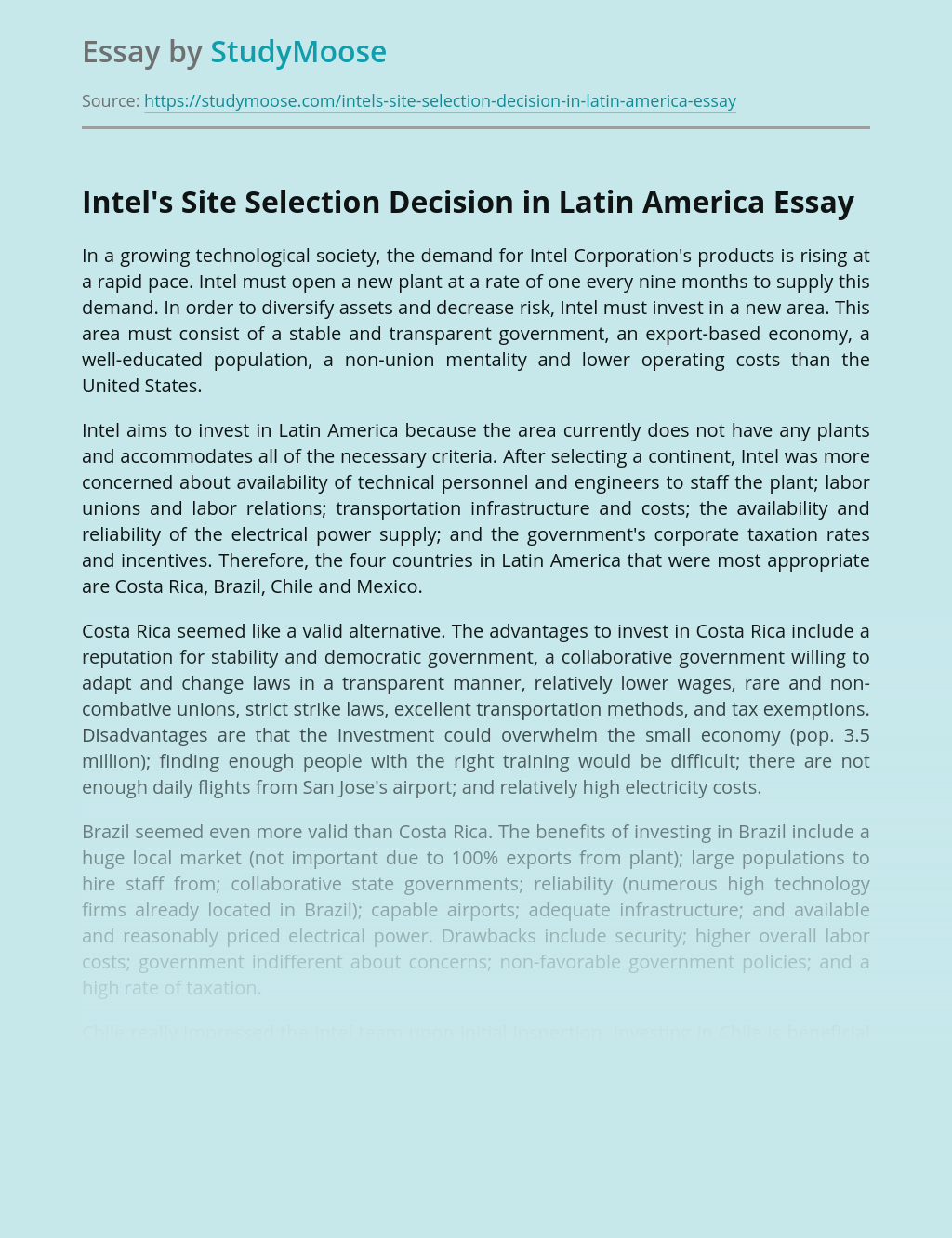 Intel's Site Selection Decision in Latin America