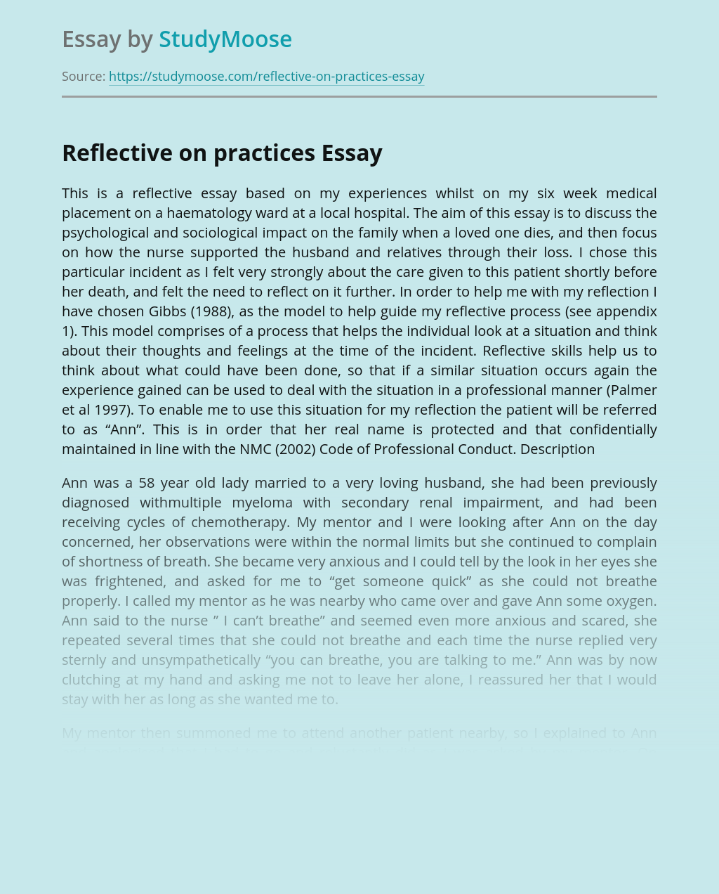 Reflective on practices