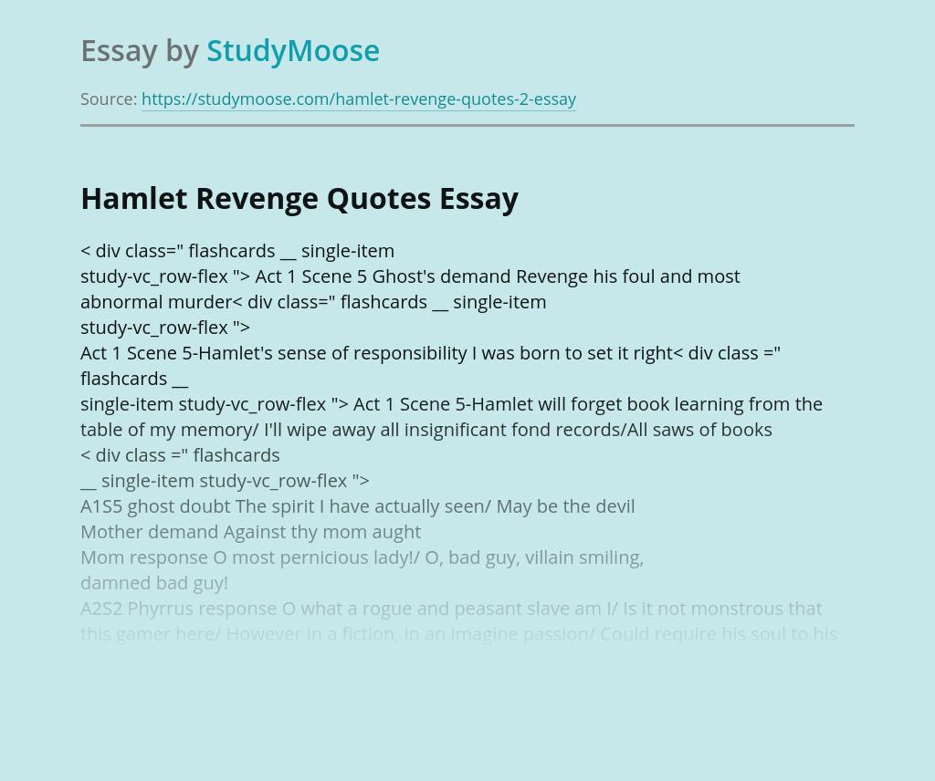 Hamlet Revenge Quotes