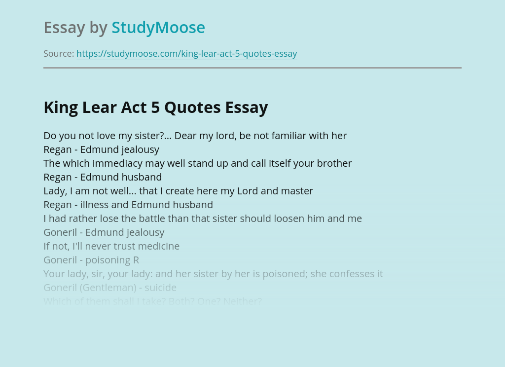 King Lear Act 5 Quotes