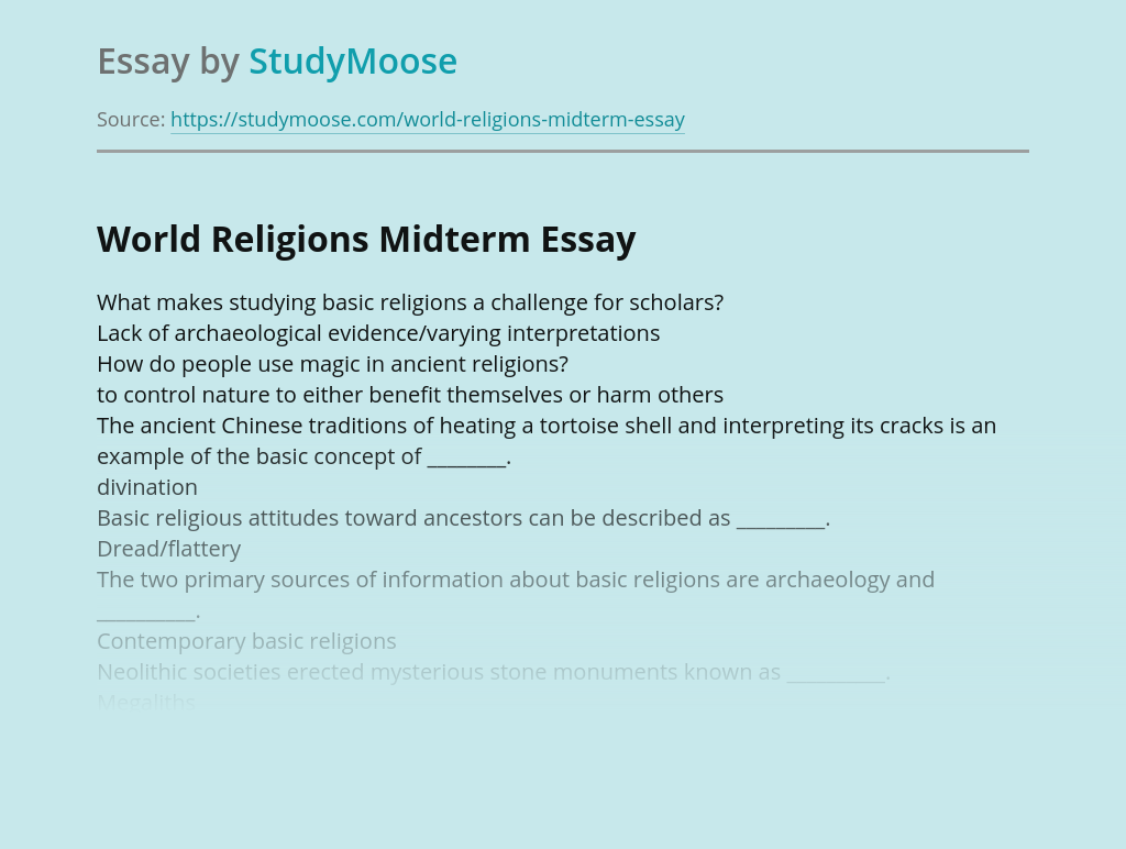 World Religions Midterm