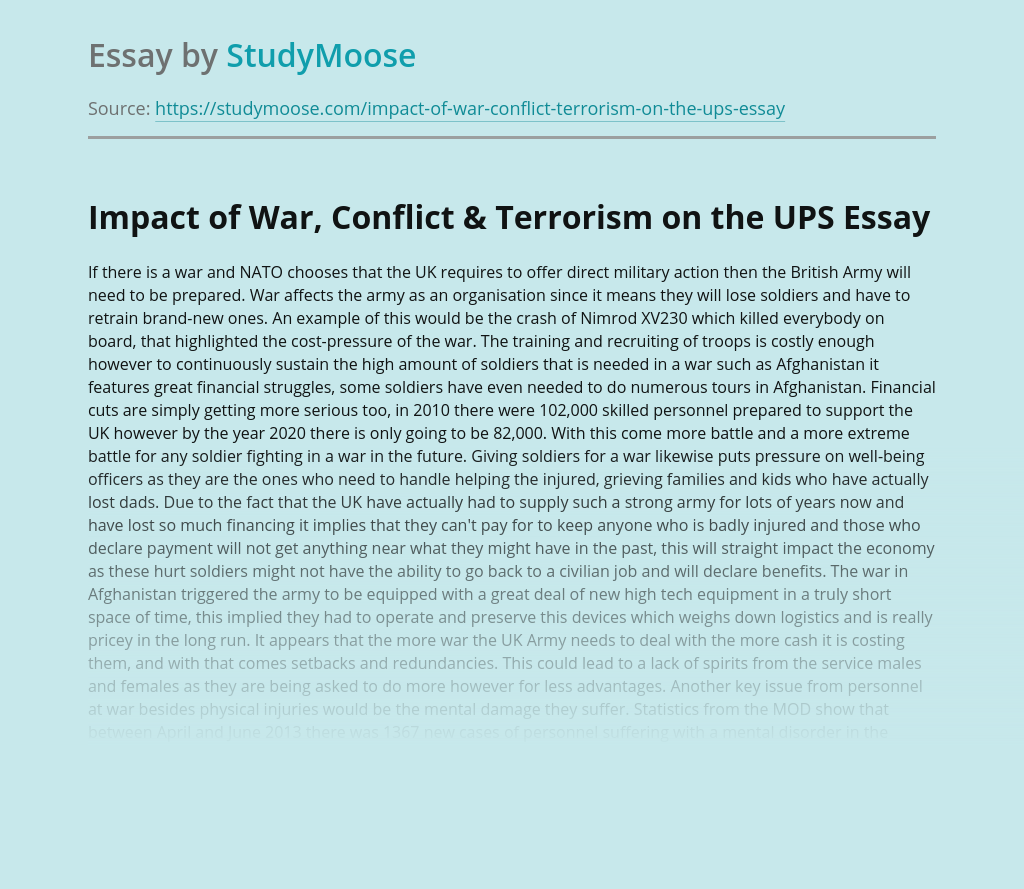Impact of War, Conflict & Terrorism on the UPS