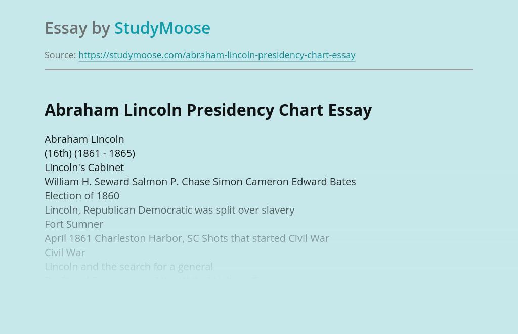 Abraham Lincoln Presidency Chart
