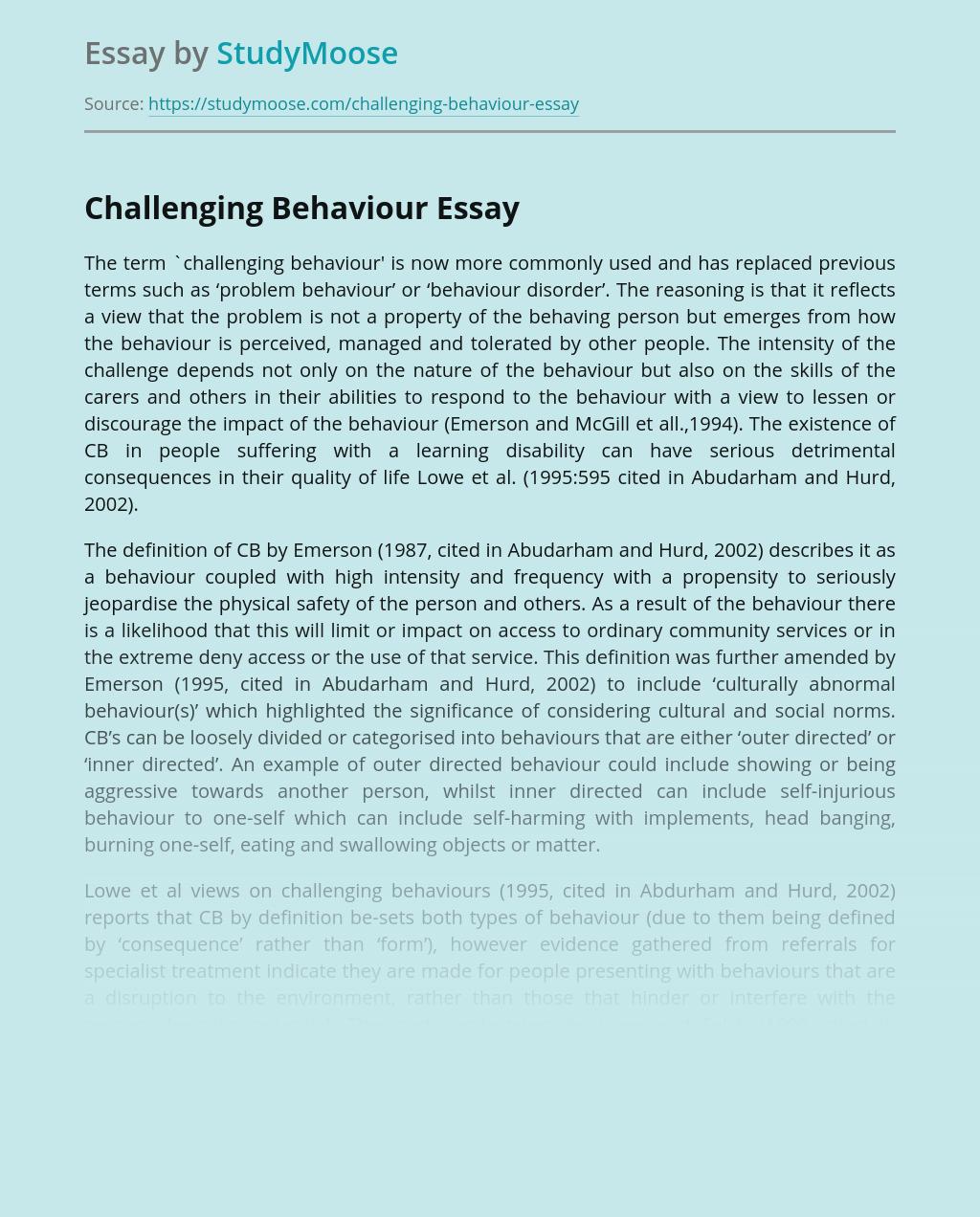 Term Challenging Behaviour