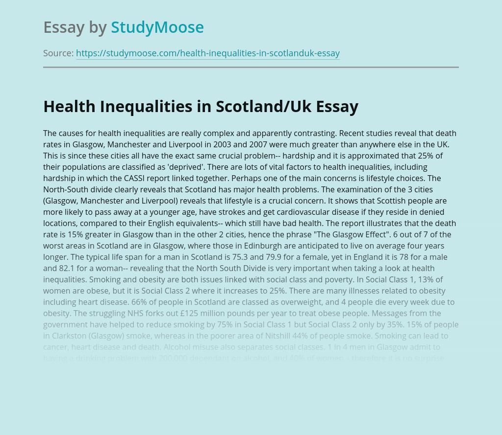 Health Inequalities in Scotland/Uk