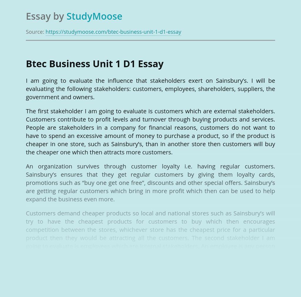 Btec Business Unit 1 D1