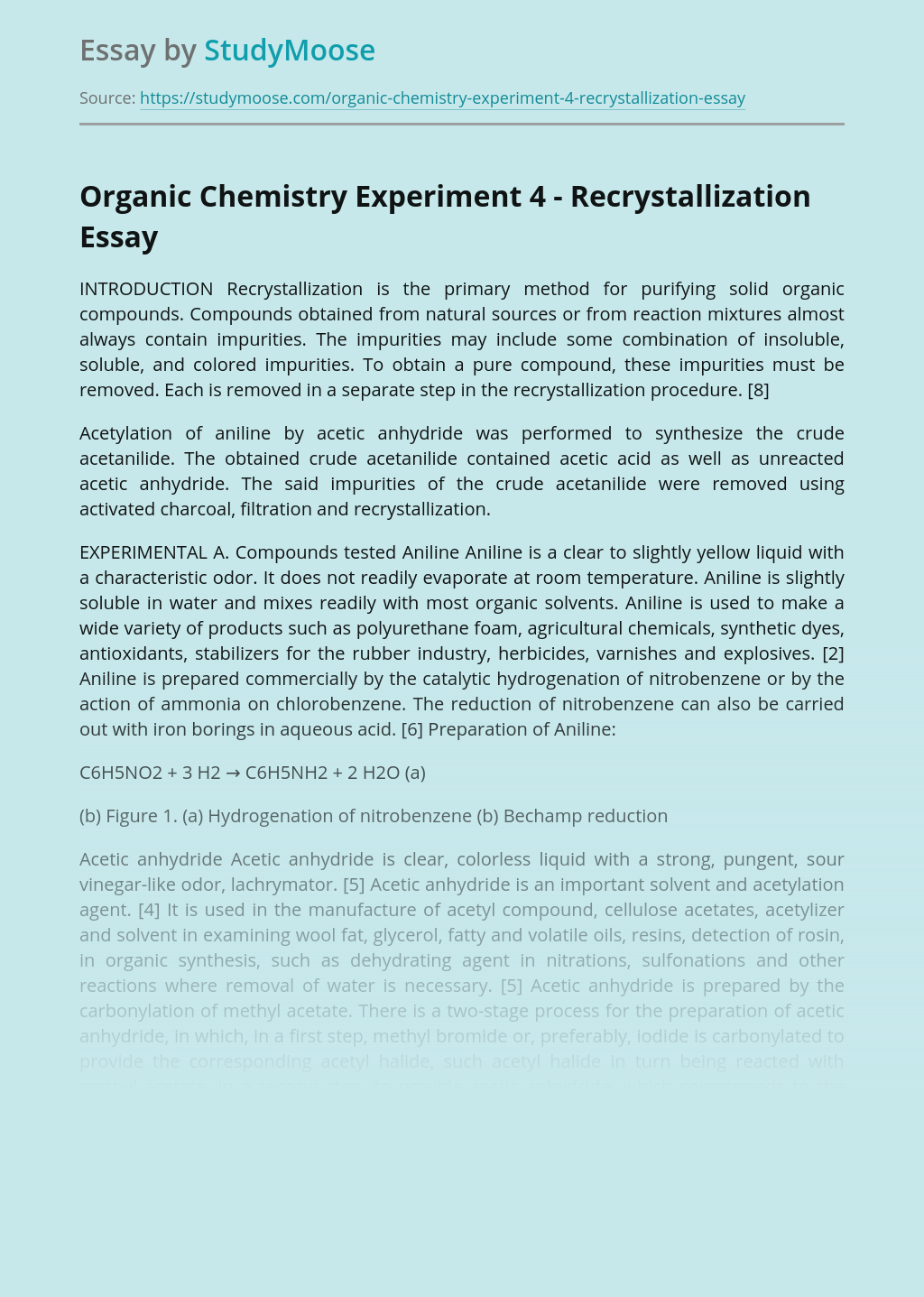 Organic Chemistry Experiment 4 - Recrystallization