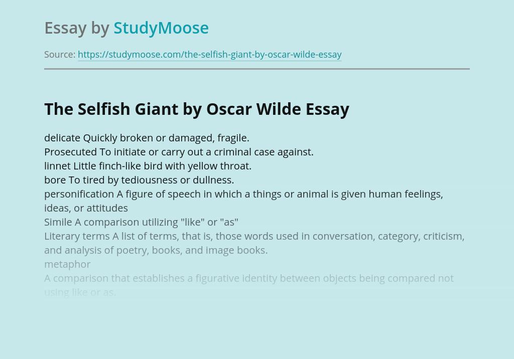 The Selfish Giant by Oscar Wilde