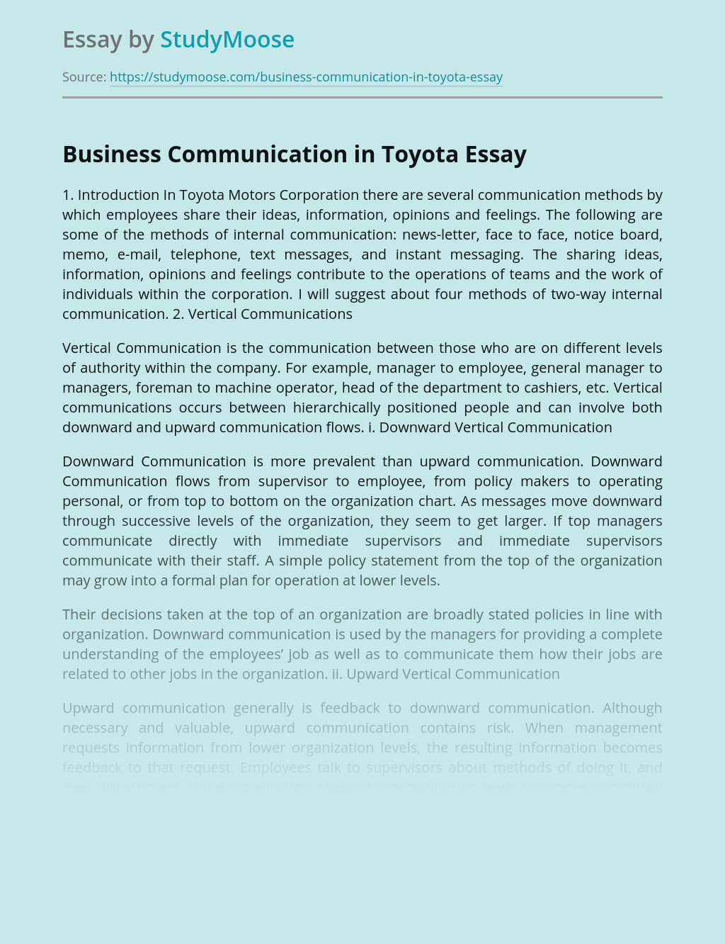 Business Communication in Toyota