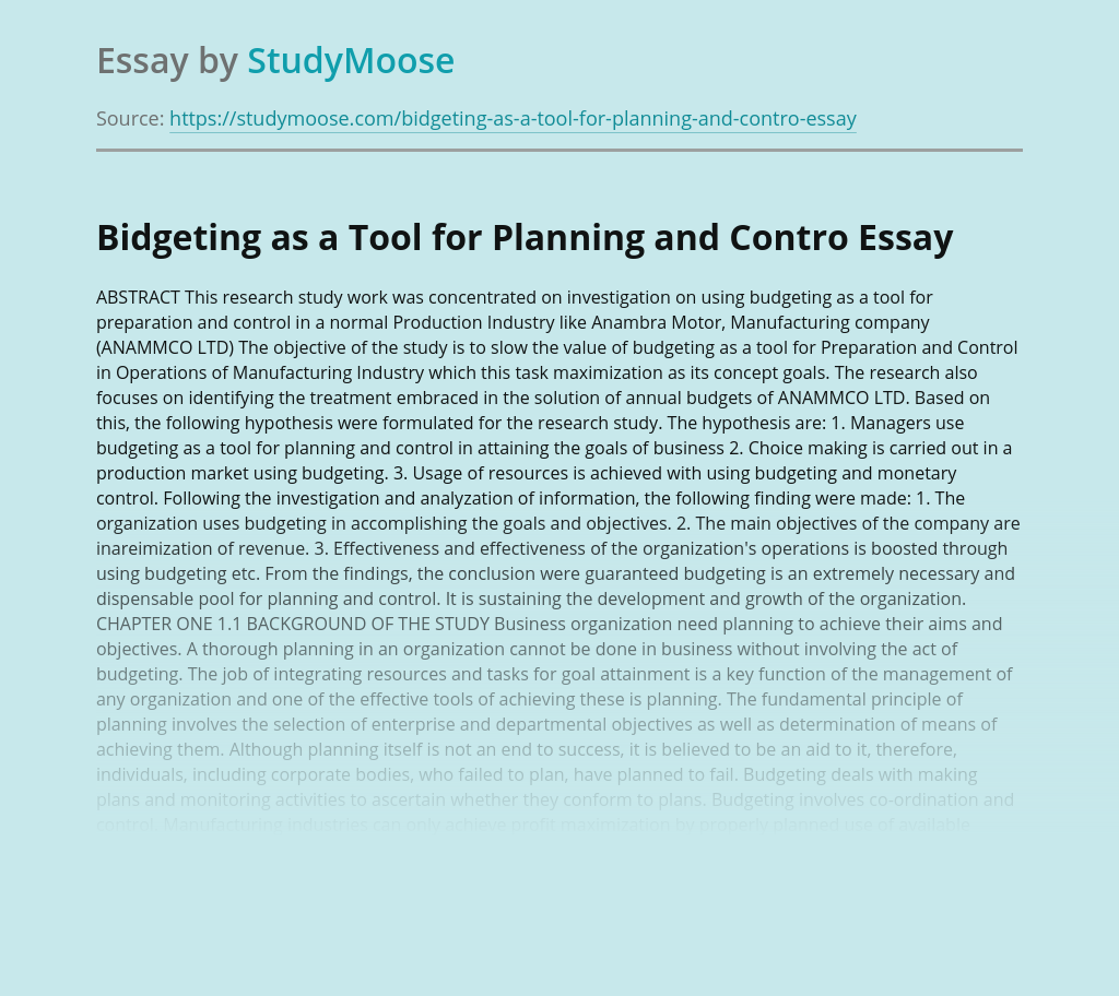Bidgeting as a Tool for Planning and Control