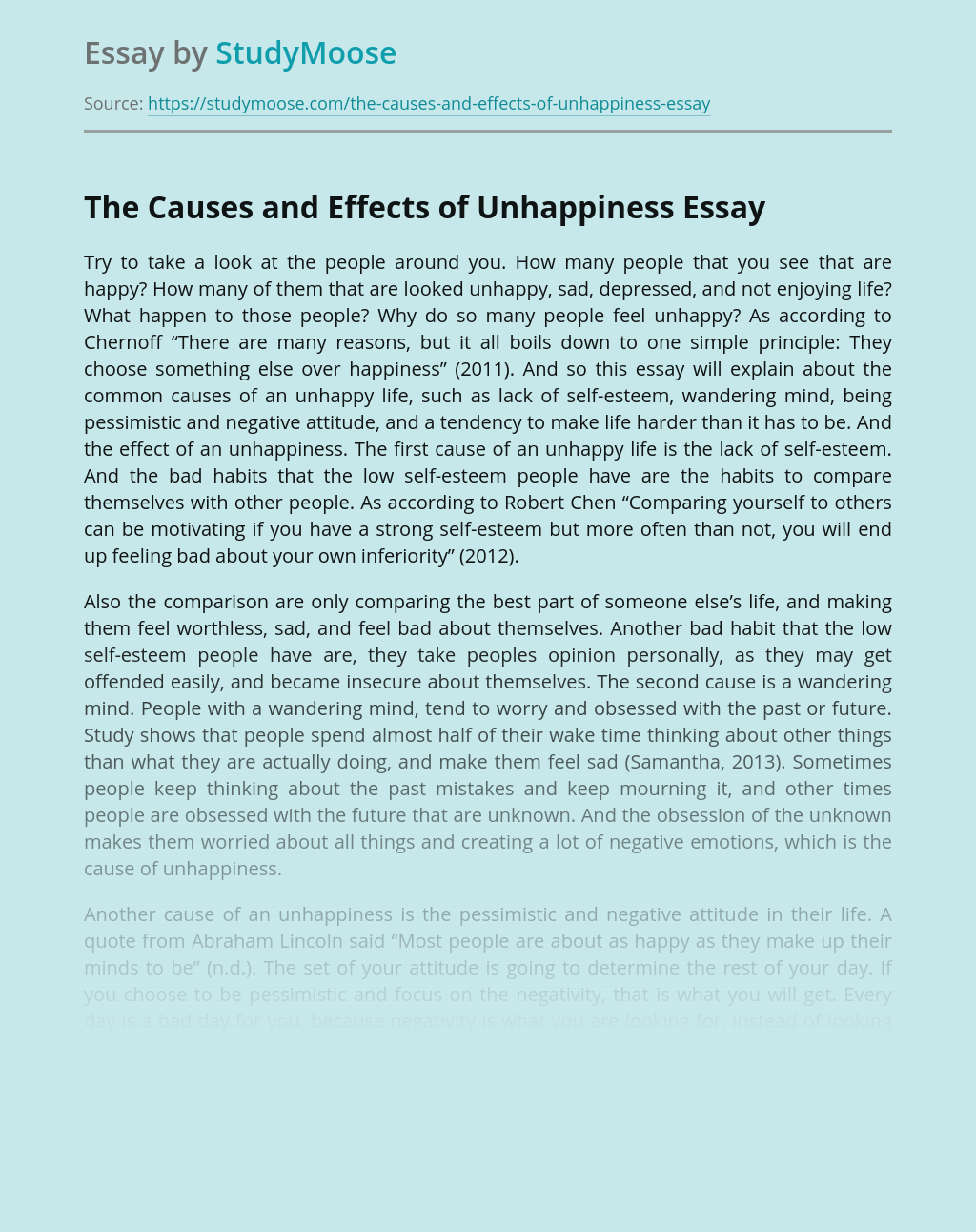 Health and Impact of Unhappiness
