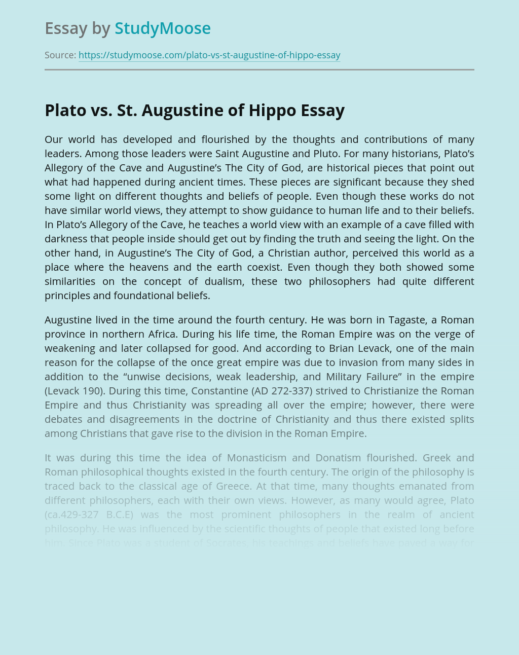 Plato vs. St. Augustine of Hippo