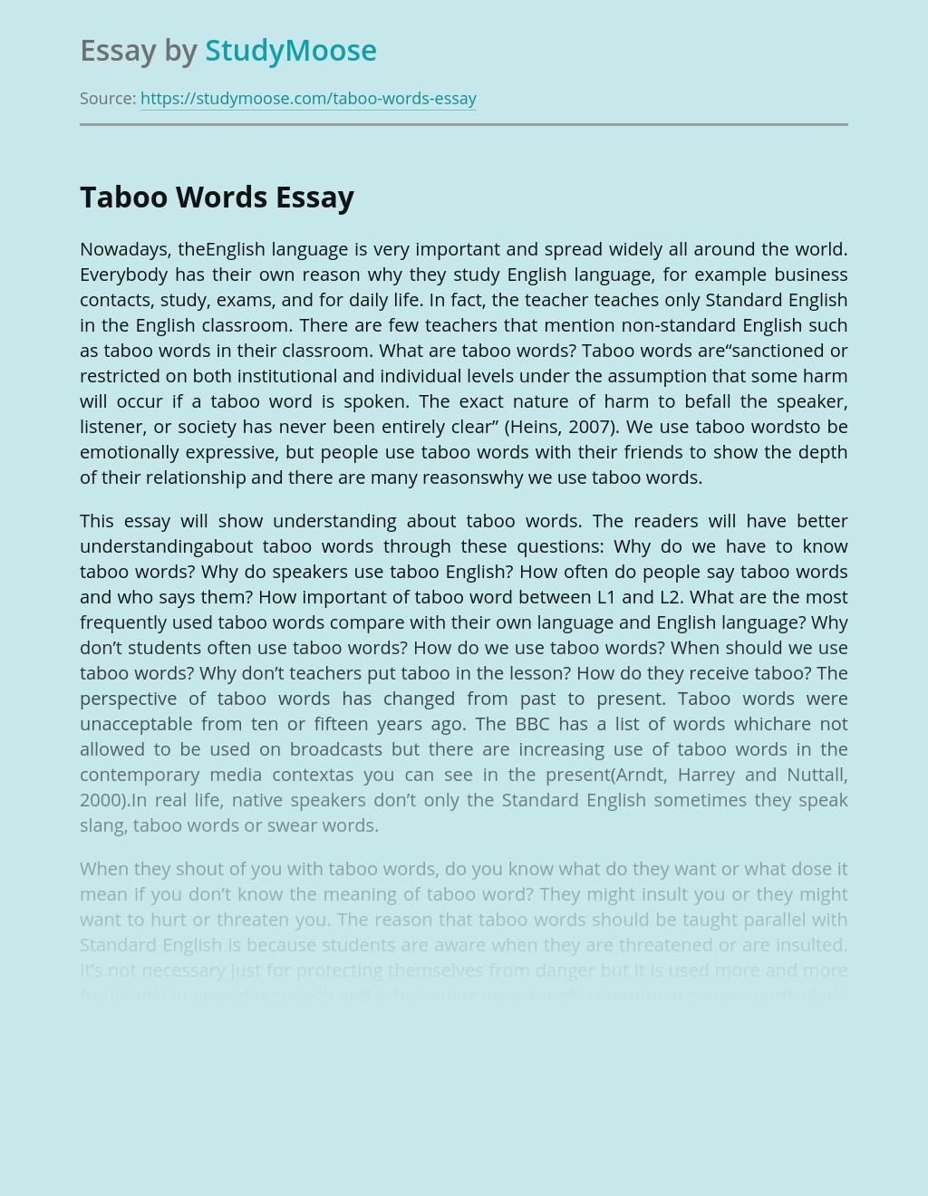 Taboo Words