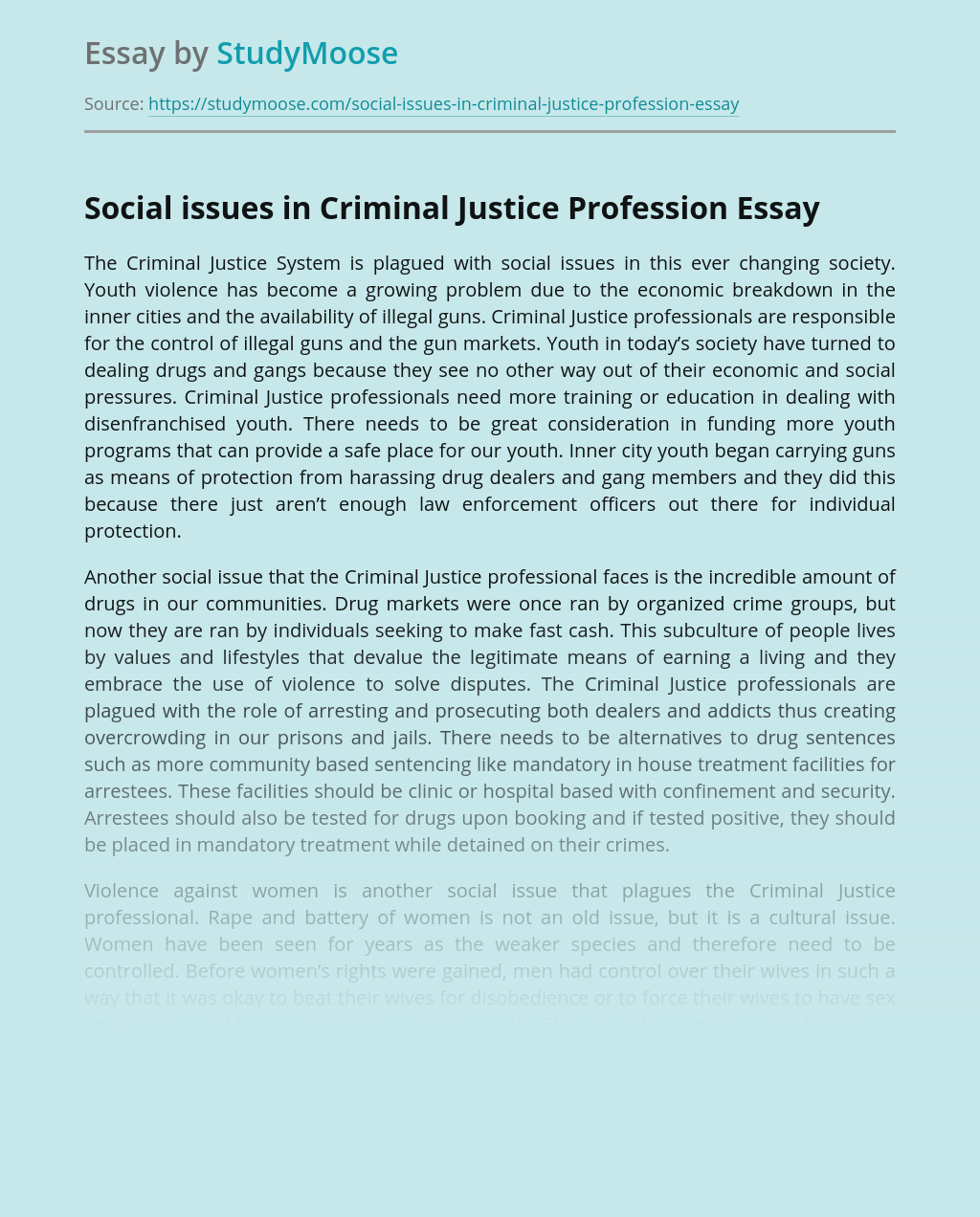 Social issues in Criminal Justice Profession