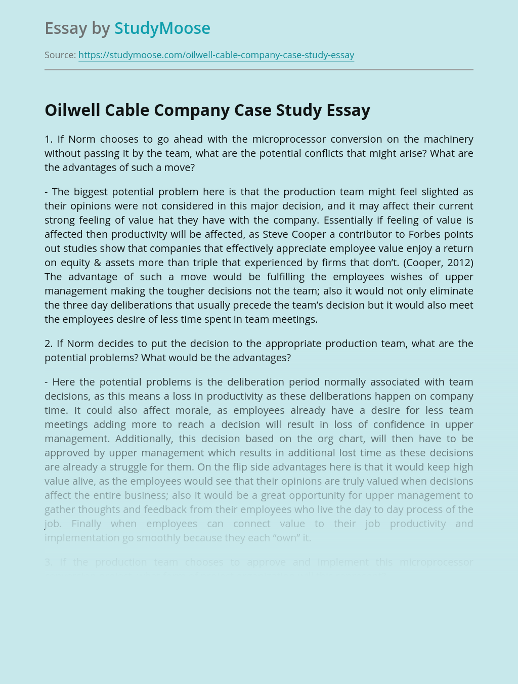 Oilwell Cable Company Case Study