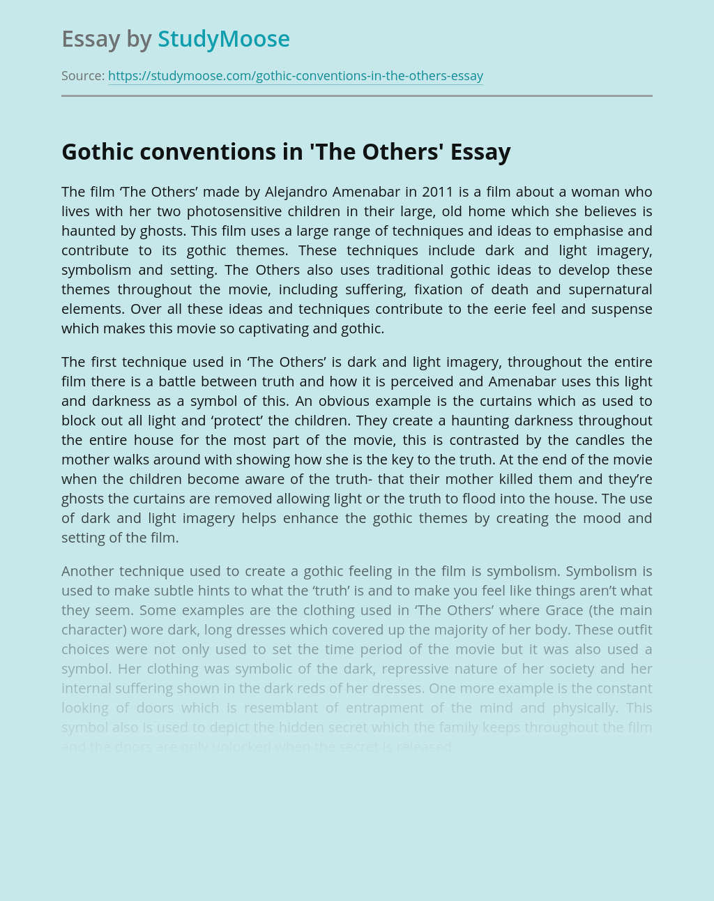 Gothic conventions in 'The Others'