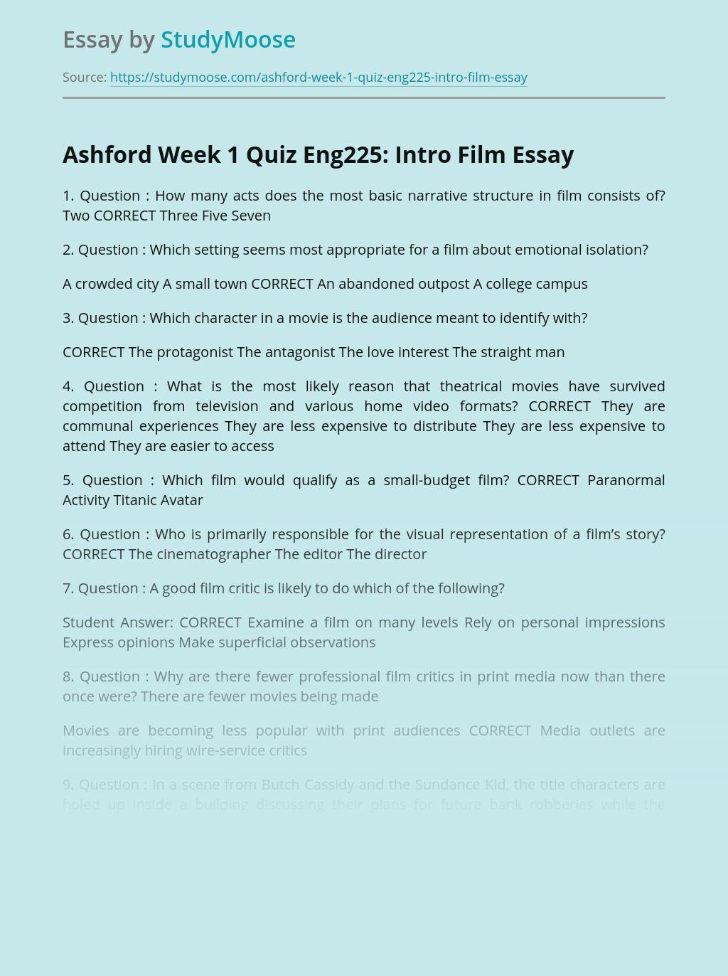 Ashford Week 1 Quiz Eng225: Intro Film