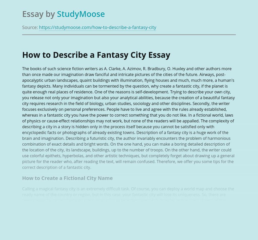 How to Describe a Fantasy City
