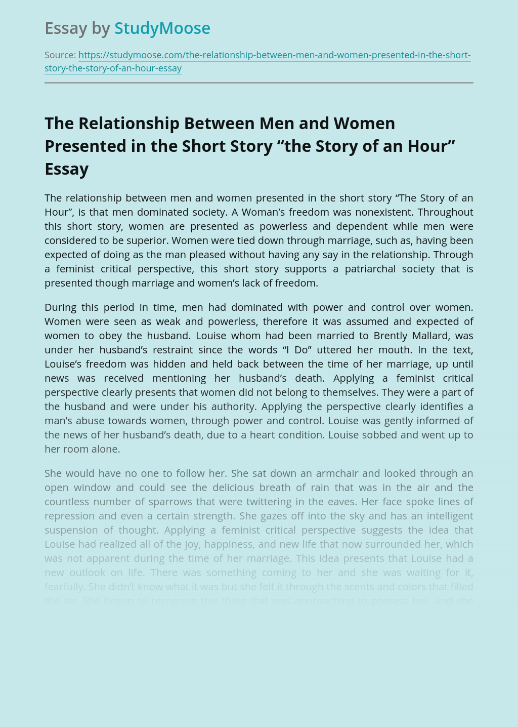 "The Relationship Between Men and Women Presented in the Short Story ""the Story of an Hour"""