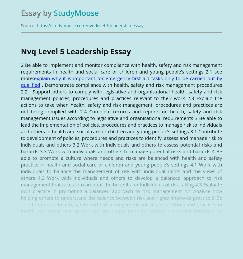 Nvq Level 5 Leadership