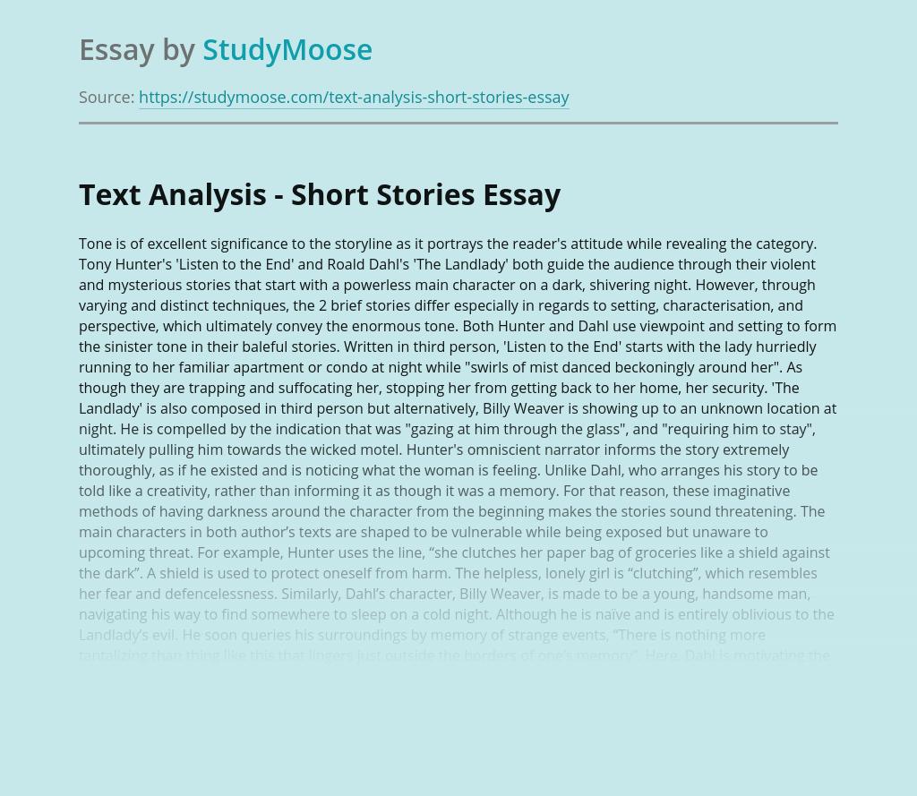 Text Analysis - Short Stories