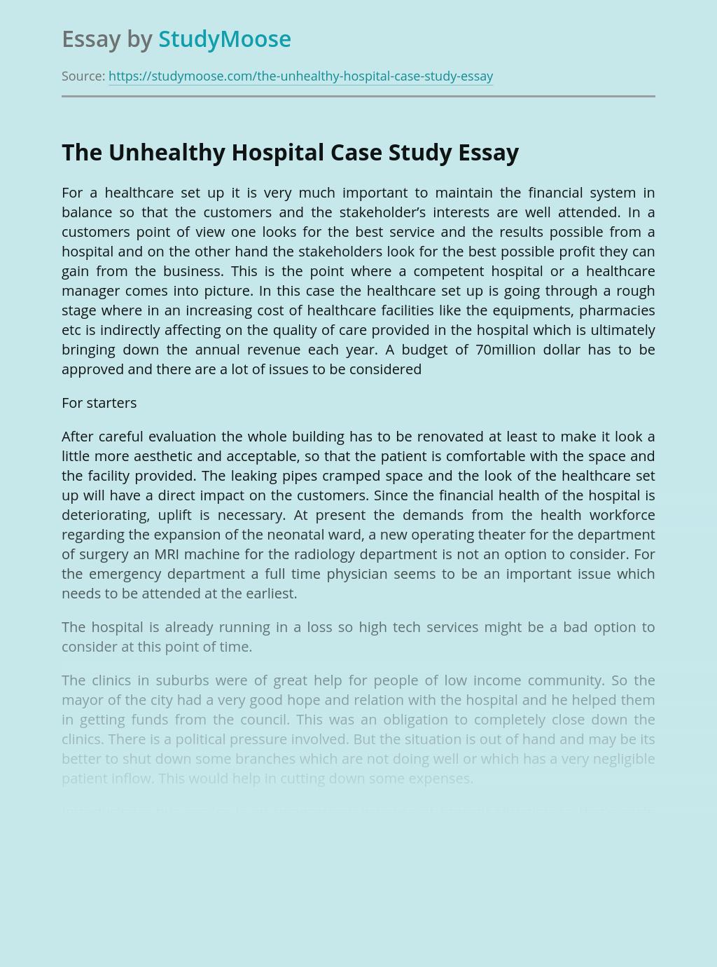 The Unhealthy Hospital Case Study