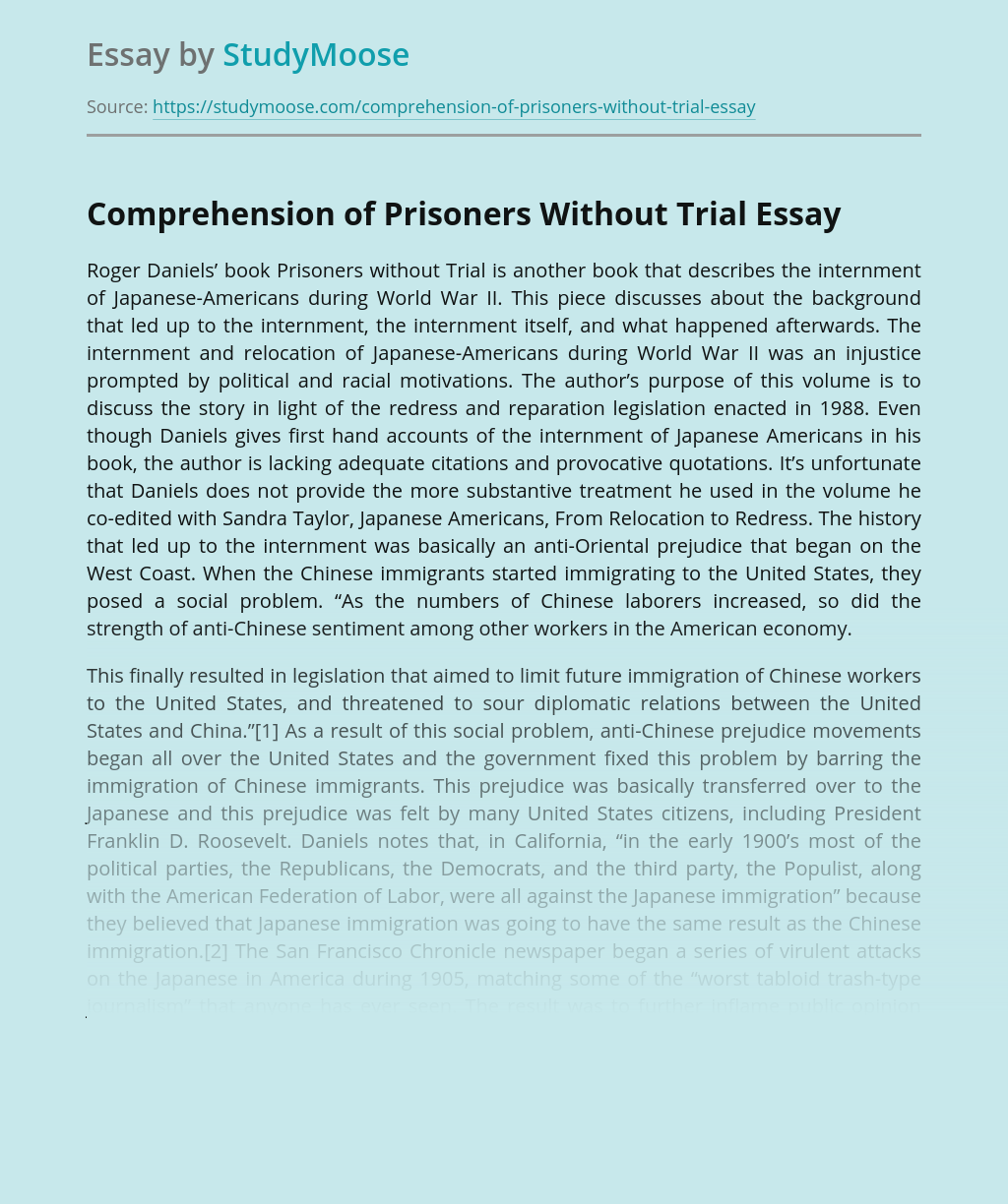 Comprehension of Prisoners Without Trial