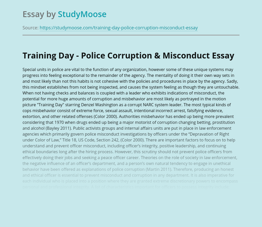 Training Day - Police Corruption & Misconduct