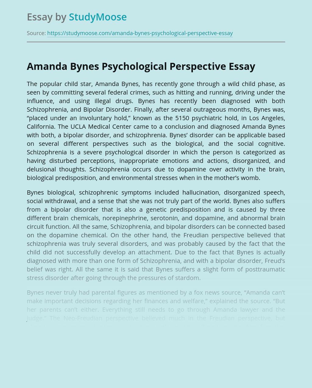 Amanda Bynes Psychological Perspective