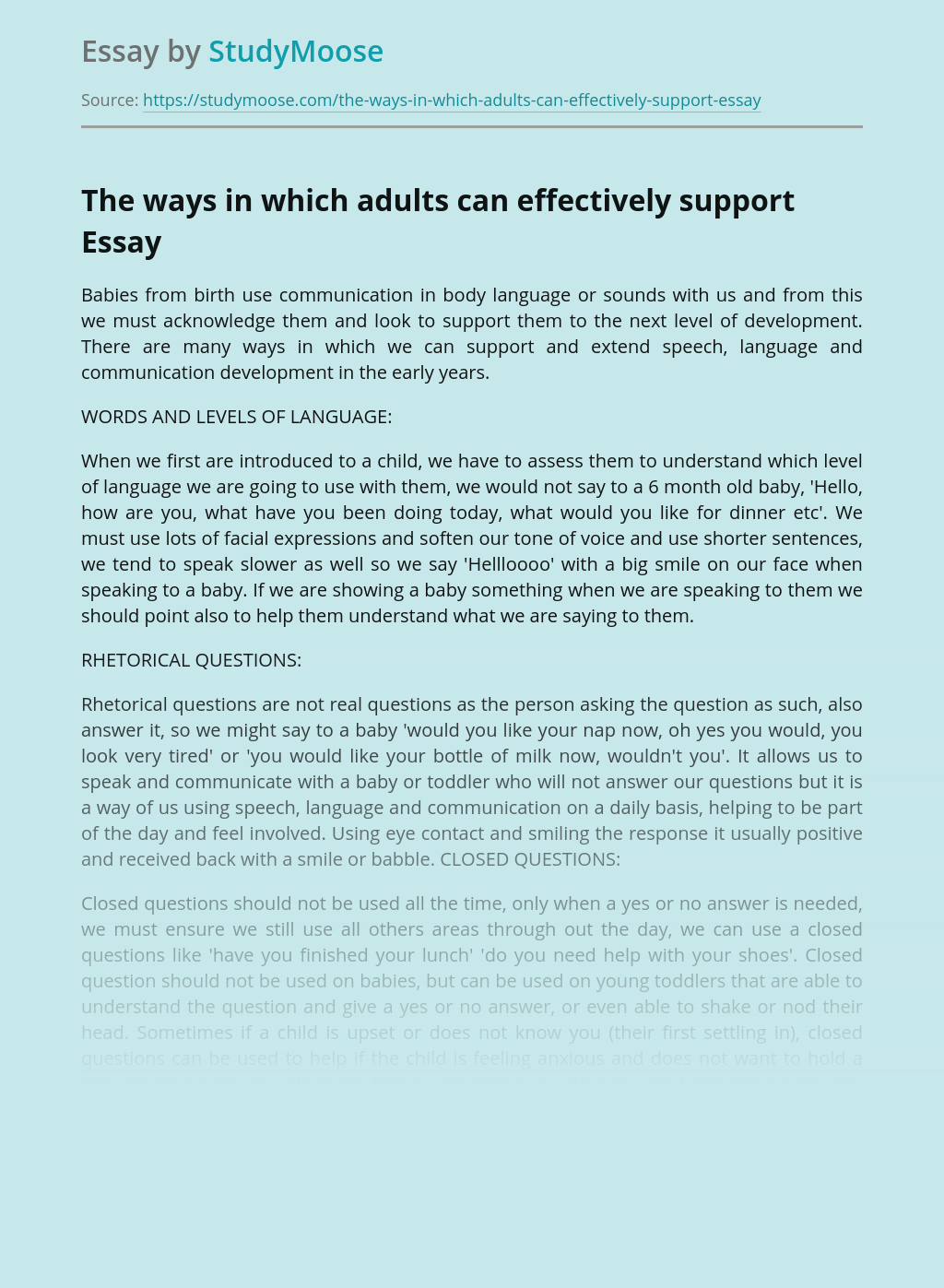 The ways in which adults can effectively support