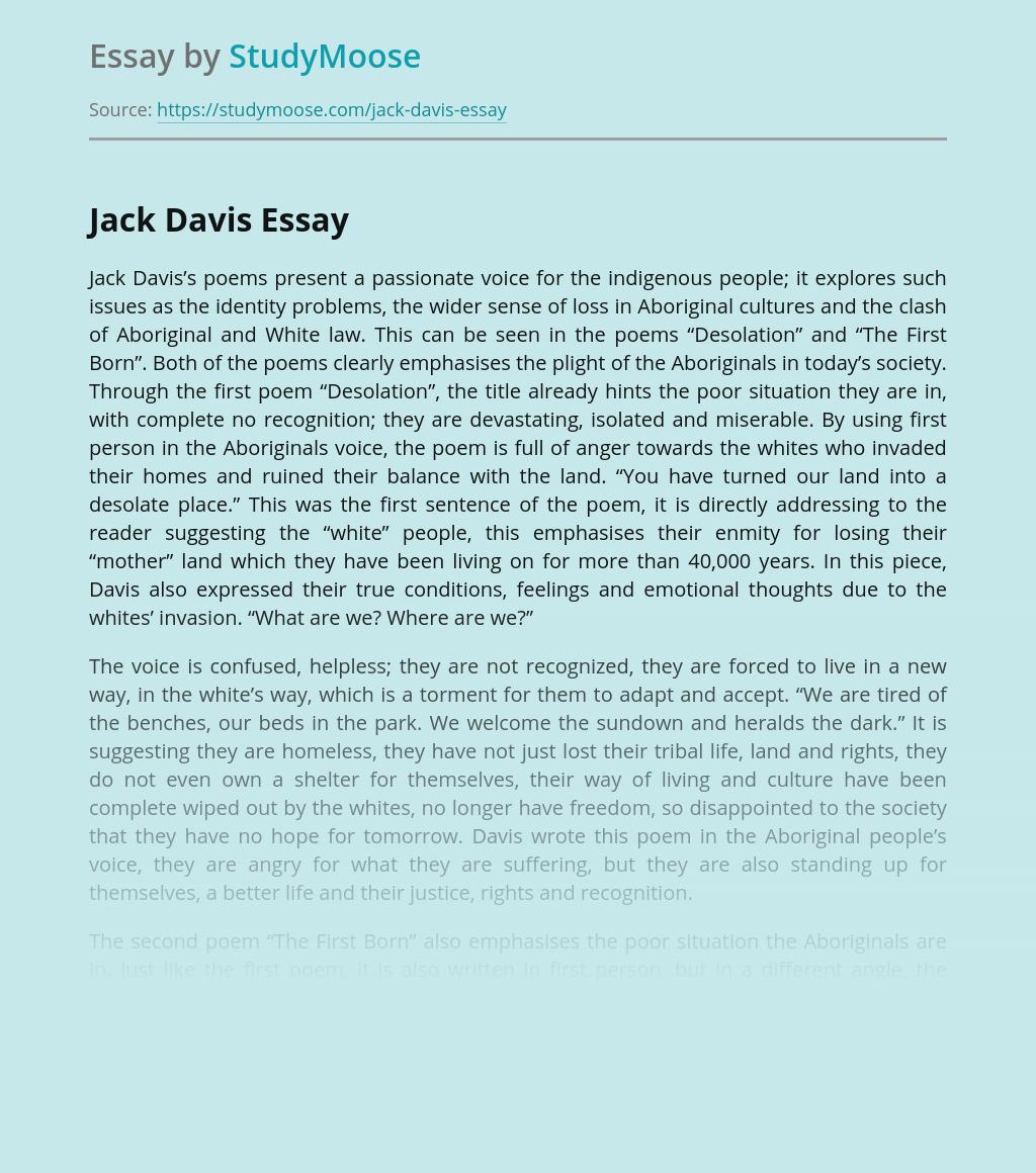 Australian Culture in Jack Davis's Poems