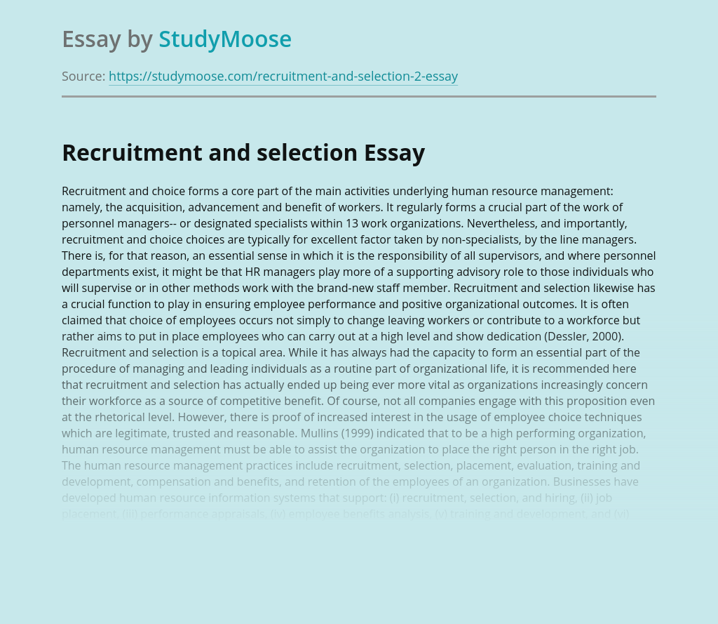 Recruitment and choice forms