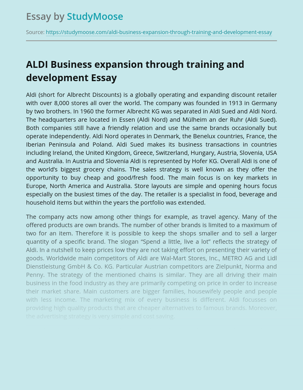 ?ALDI Business expansion through training and development