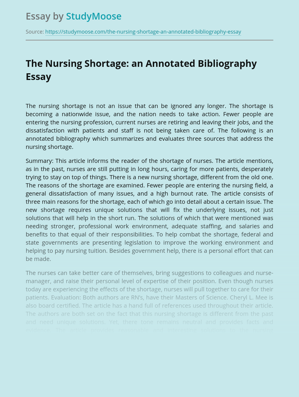The Nursing Shortage: an Annotated Bibliography