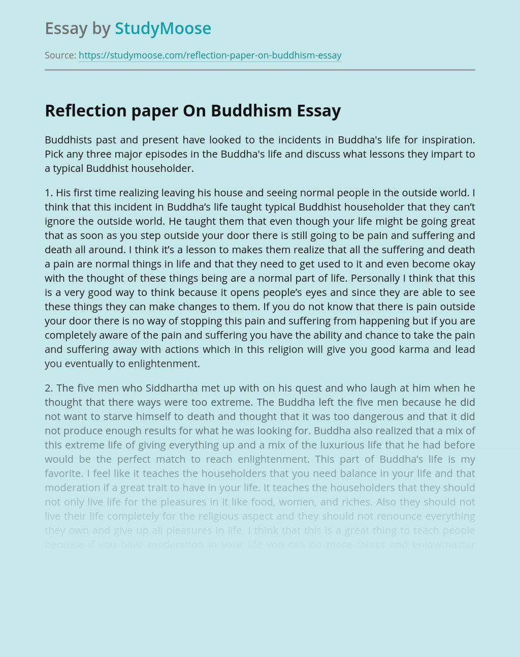 Reflection paper On Buddhism