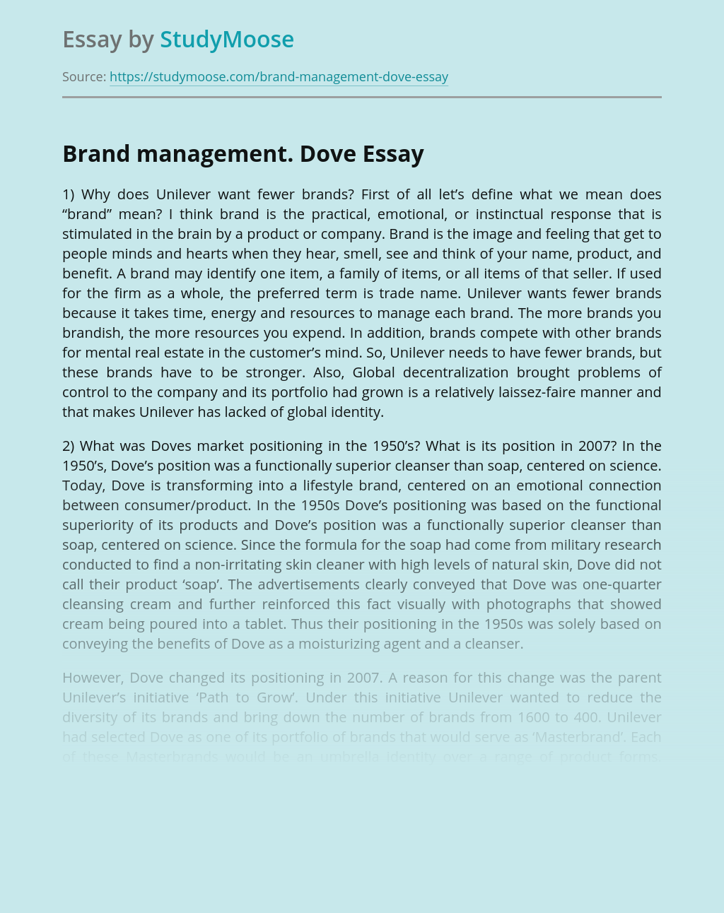 Brand management. Dove
