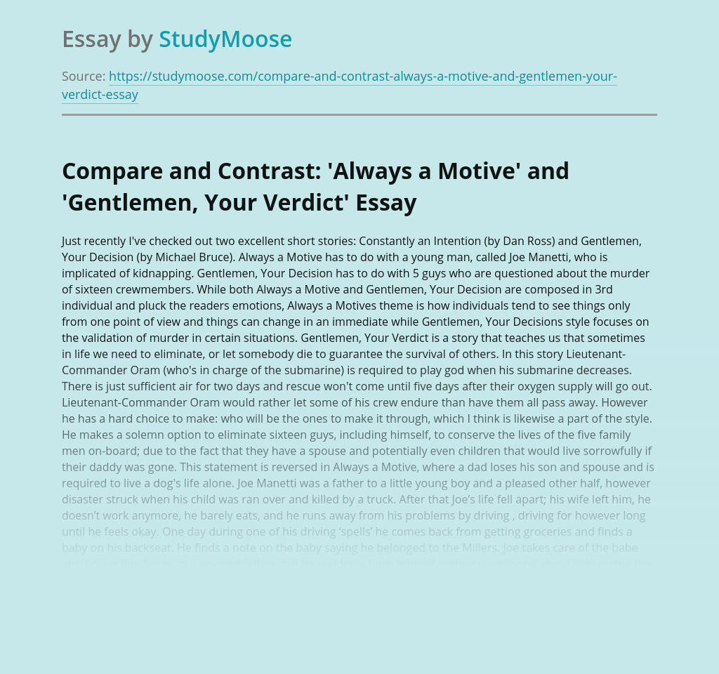 Compare and Contrast: 'Always a Motive' and 'Gentlemen, Your Verdict'