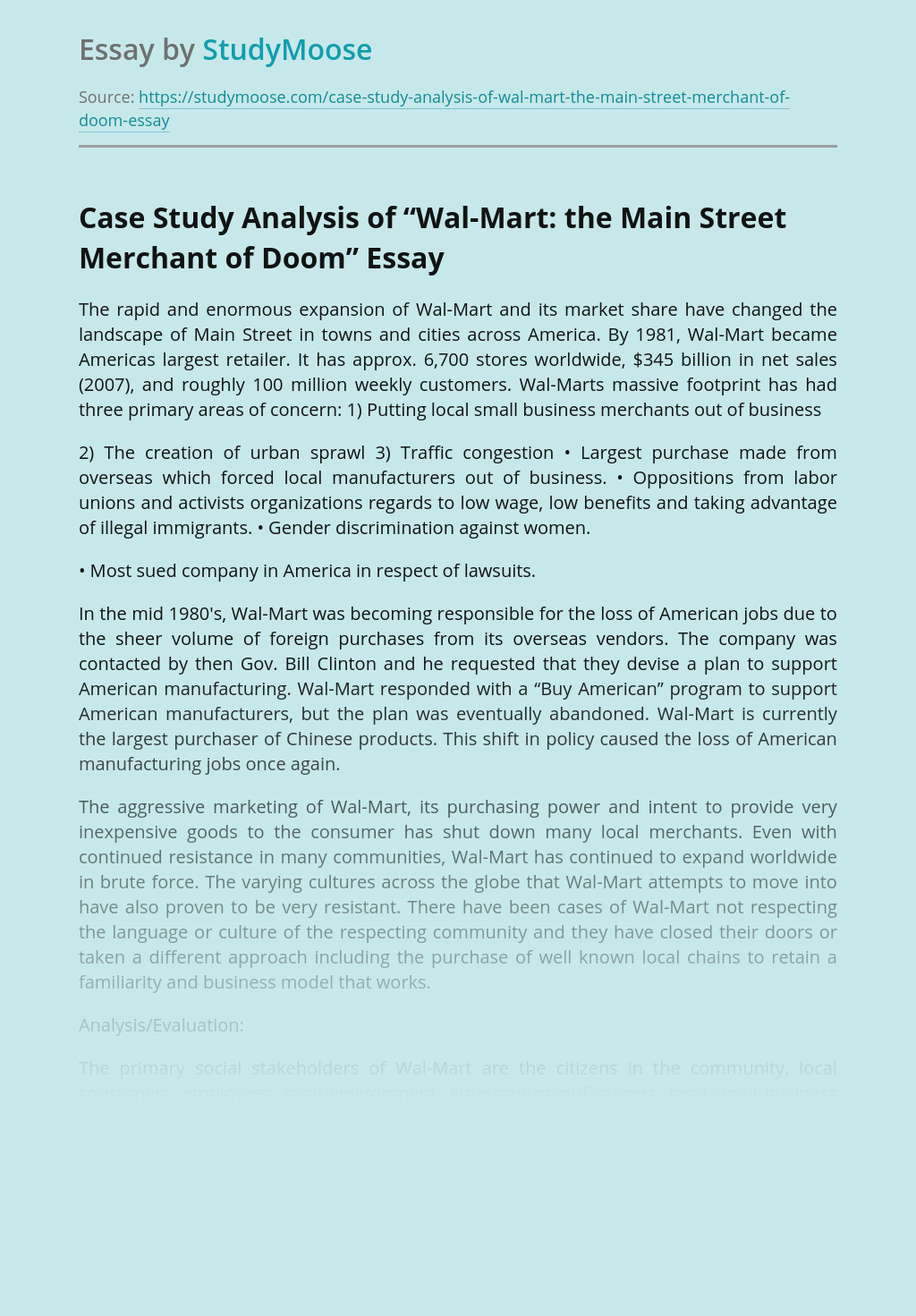 "Case Study Analysis of ""Wal-Mart: the Main Street Merchant of Doom"""