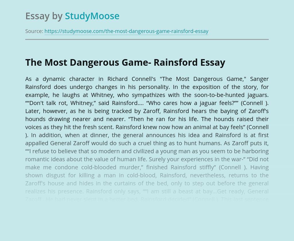 The Most Dangerous Game- Rainsford