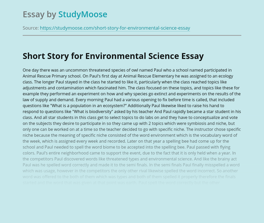 Short Story for Environmental Science