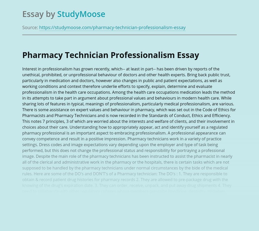 Pharmacy Technician Professionalism Free Essay Example