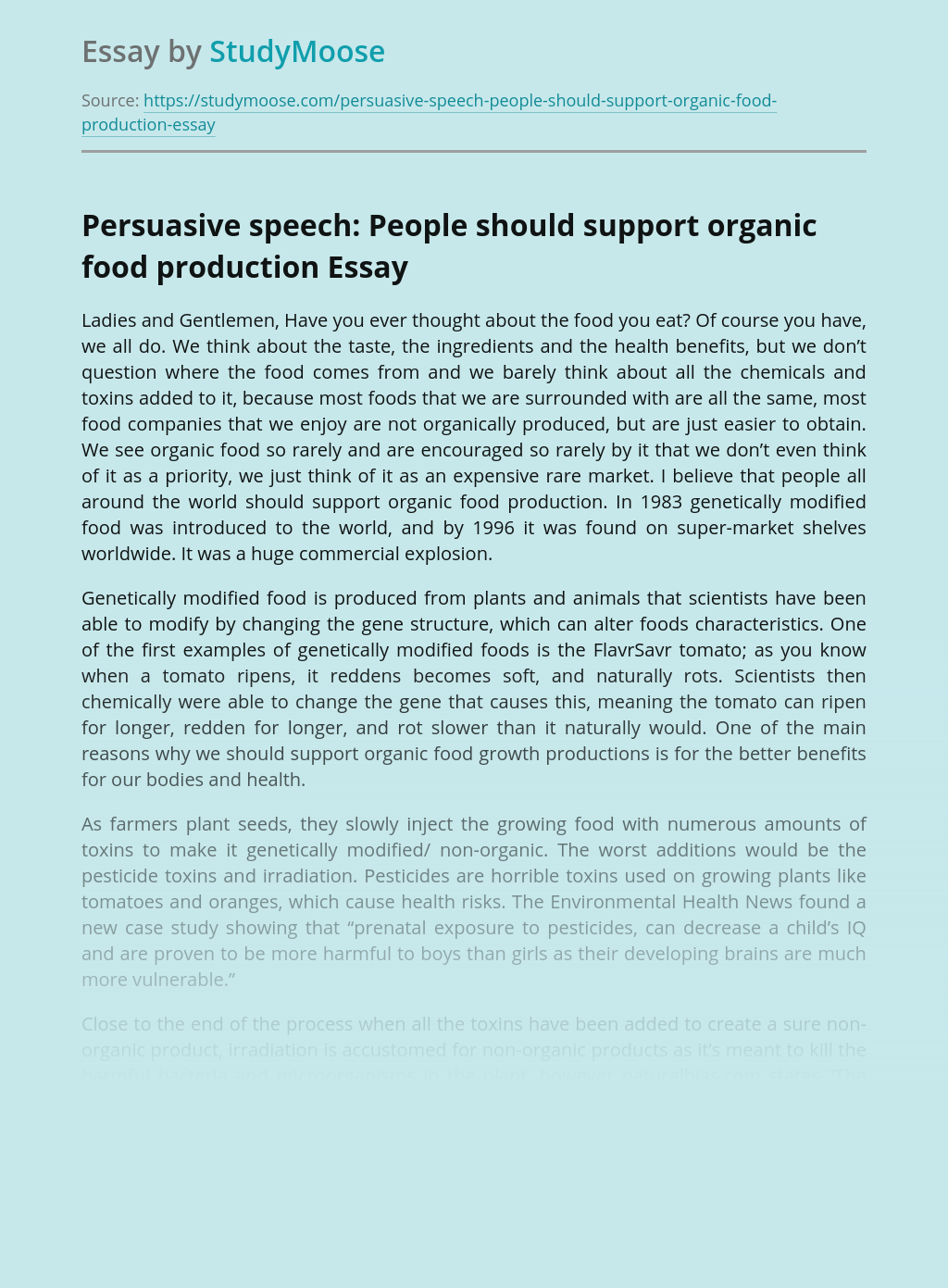 Persuasive speech: People should support organic food production