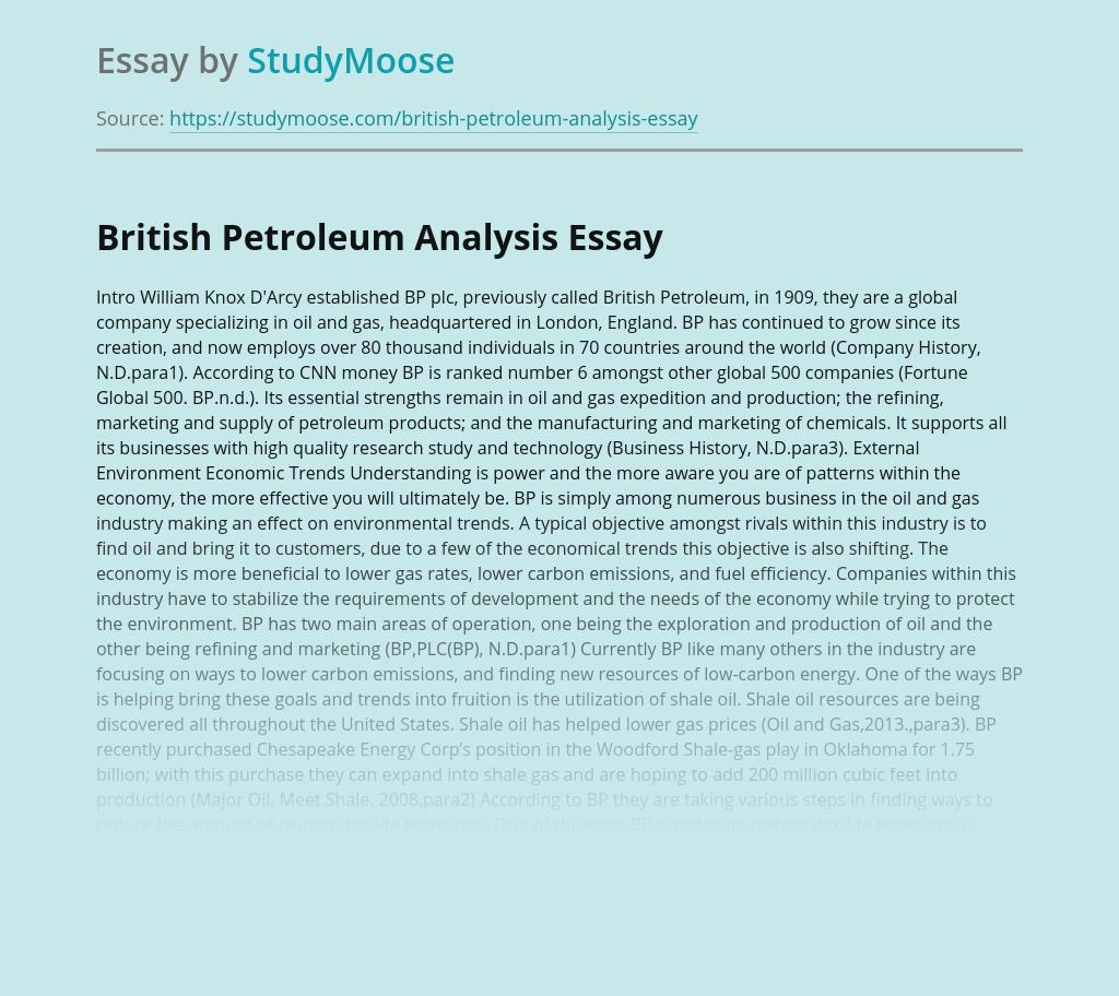 British Petroleum Analysis