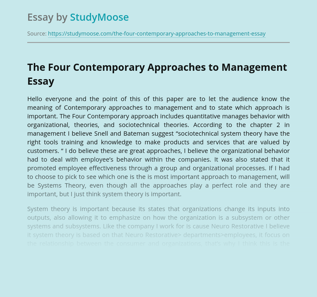The Four Contemporary Approaches to Management: Which Is Important