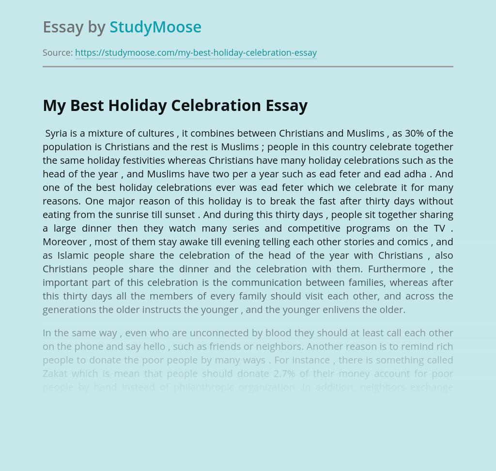 My Best Holiday Celebration