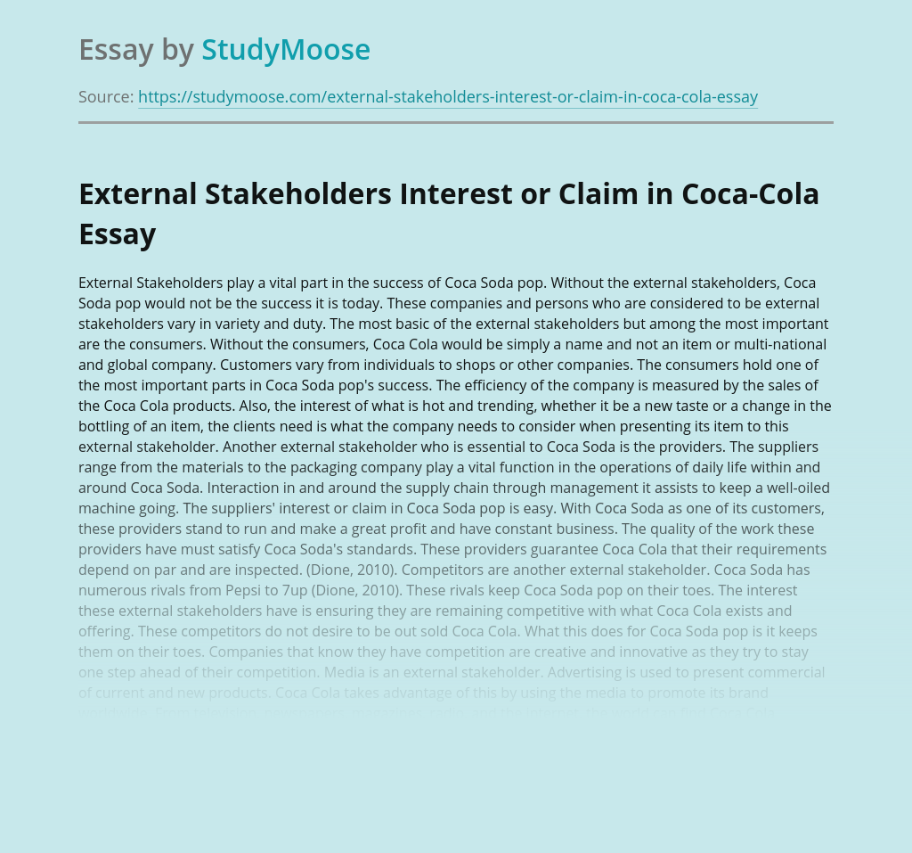 External Stakeholders Interest or Claim in Coca Cola